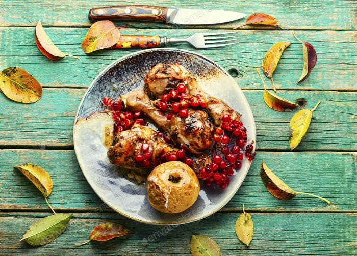 Chicken meat roasted with berries