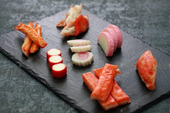 variety of surimi products, imitation crab sticks, japanese food