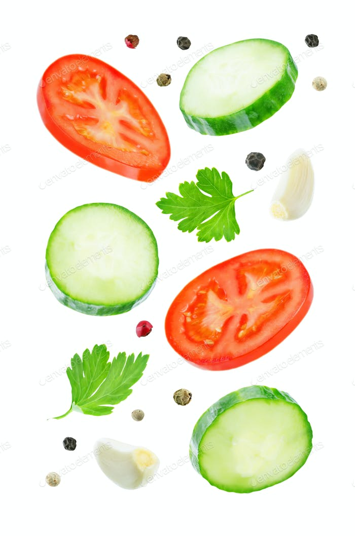 Flying Cucumber slices with tomato slices