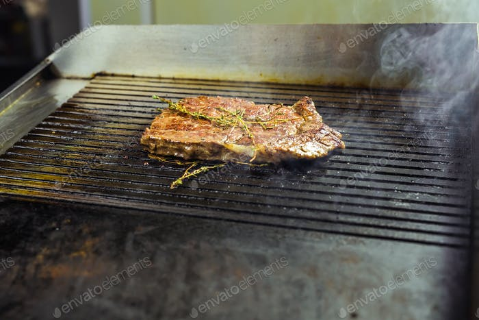 Grilled meat. Juicy steak from beef - soft focuse