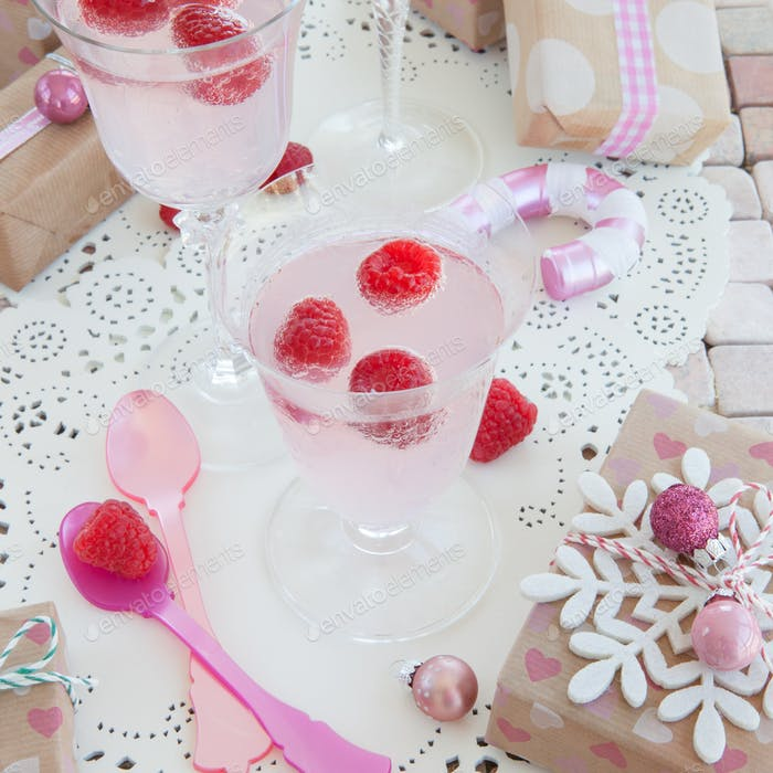 Festive raspberry cocktail