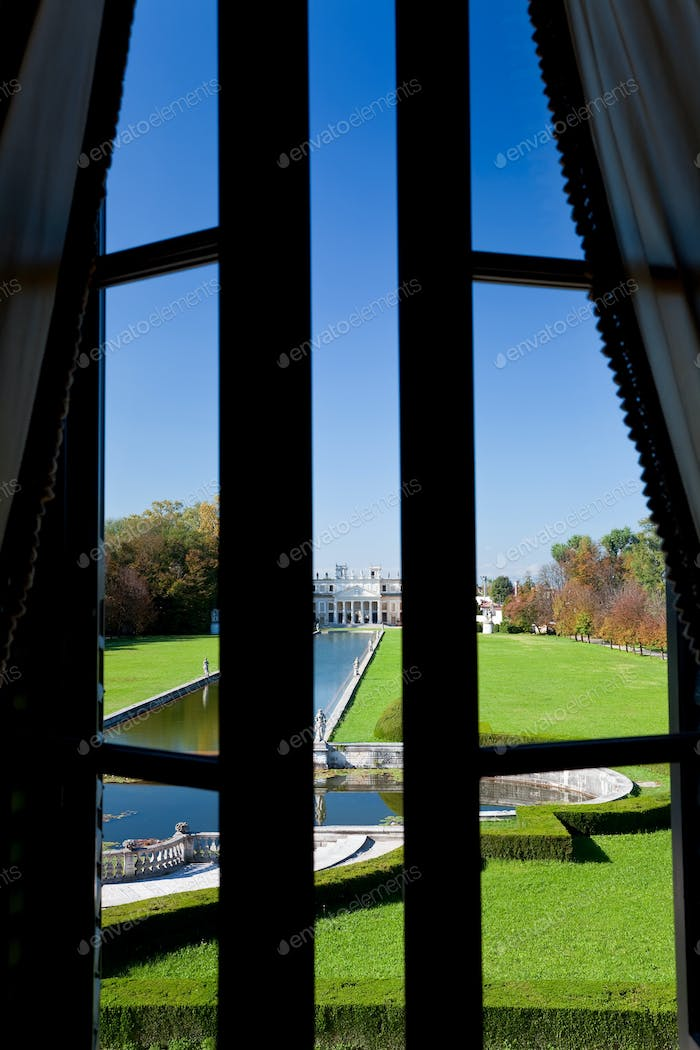 Villa Pisani located on the Brenta River between Venice and Padova, view through a window