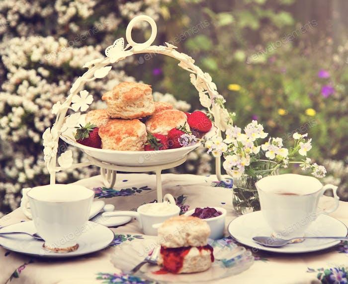 Tea Break Scone Strawberry Jam Garden Outdoors Concept