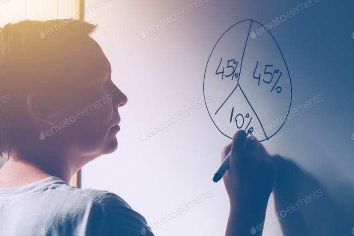 Businesswoman drawing pie chart on office whiteboard