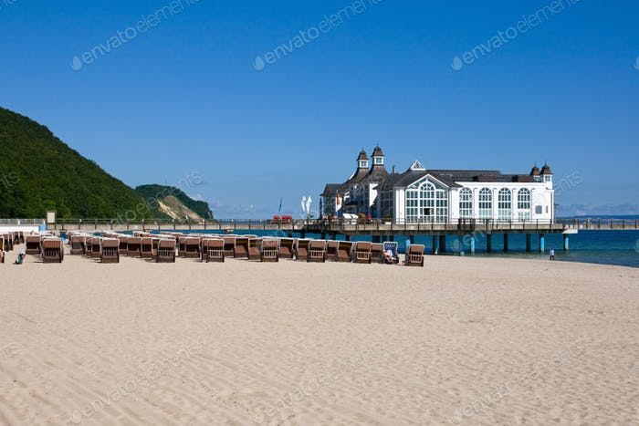 Beach and pier at the baltic Sea