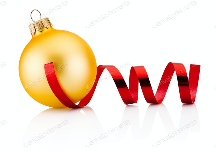 Christmas golden bauble and red curling paper Isolated on white