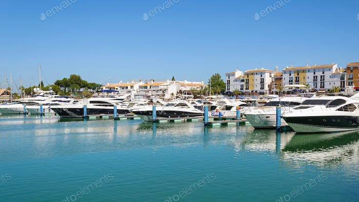 Luxury yachts in the port of Vilamoura in Portugal