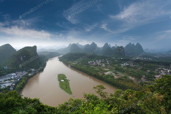 overlooking the karst landform and lijiang river in yangshuo