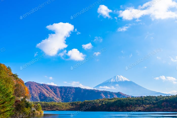 Beautiful landscape of mountain fuji with maple leaf tree around