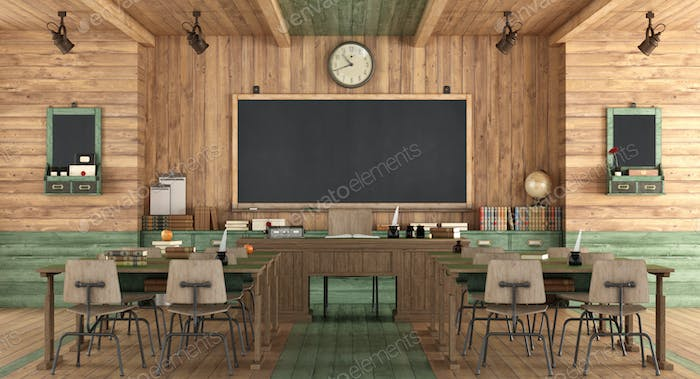 Wooden classroom in retro style