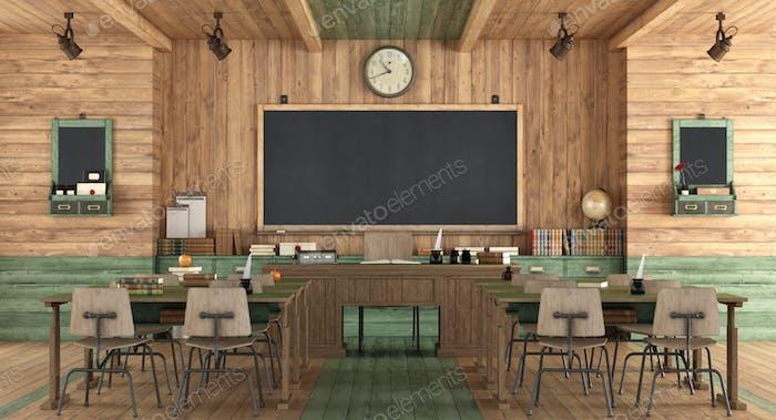 Klassenzimmer aus Holz im Retro-Stil