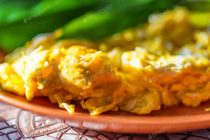 Scrambled eggs with green leek on plate close
