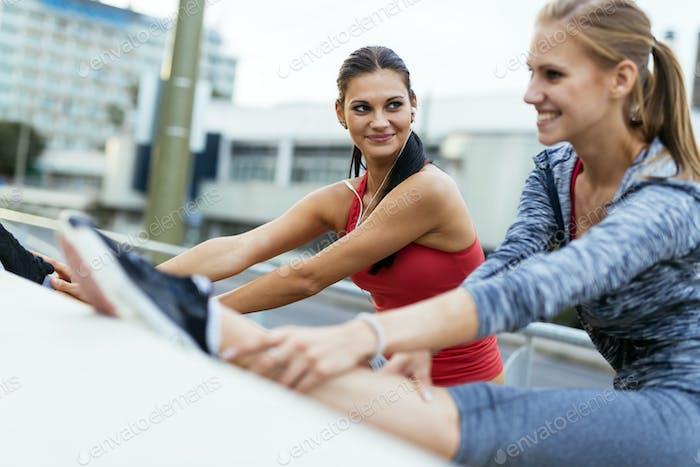 Women stretching outdoor