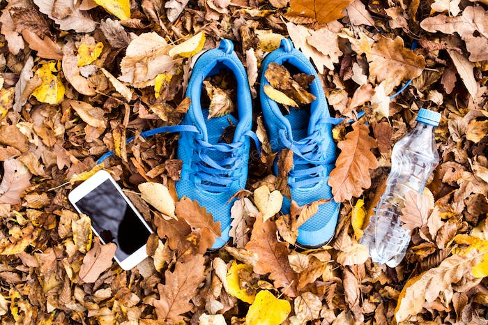 Trainers and smartphone on colorful leaves on the ground.