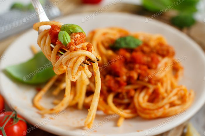 Spaghetti pasta with bolognese sauce