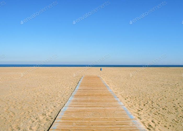 Sea and empty beach scene