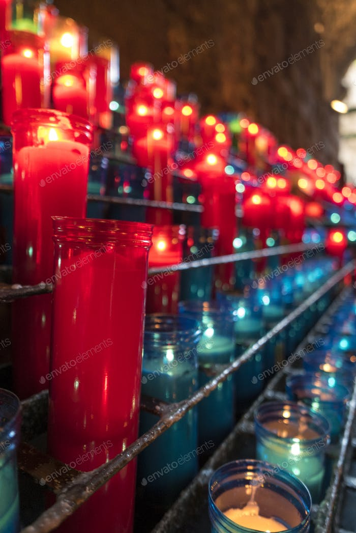 Colored Candles at Montserrat monastery near Barcelona in Spain