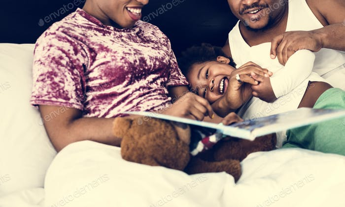 Black family spend time together love happiness