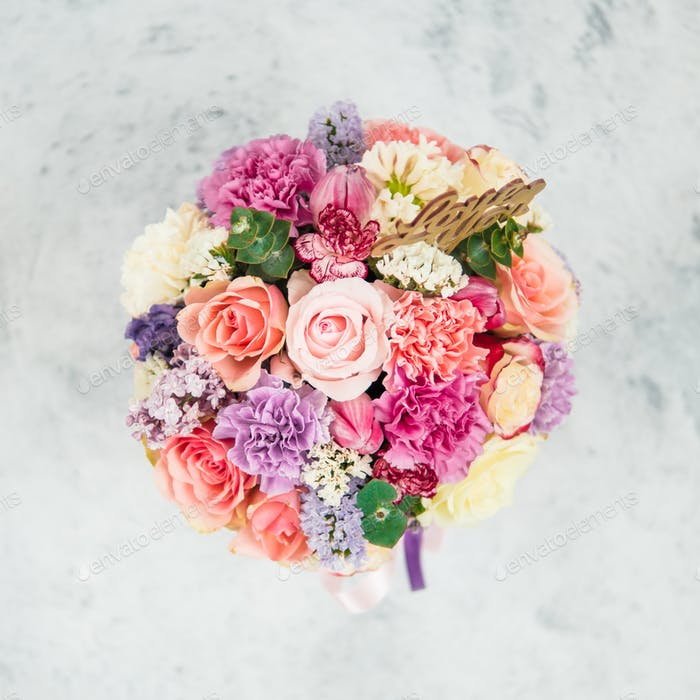 Beautiful bouquet, different flowers