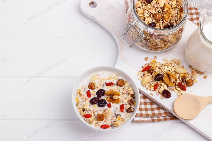 Bowl of homemade muesli