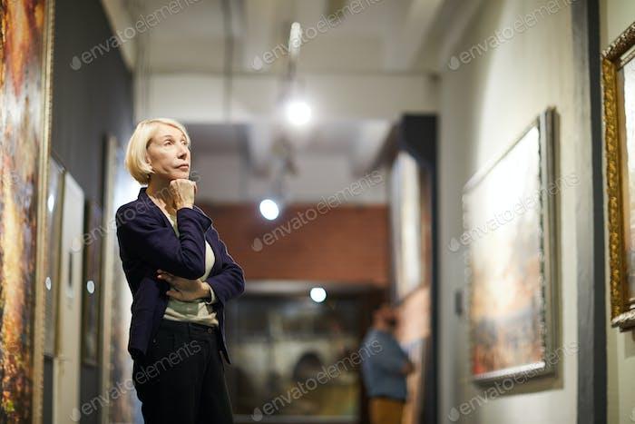Pensive Woman in Museum