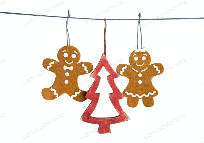 Gingerbread man decorations isolated
