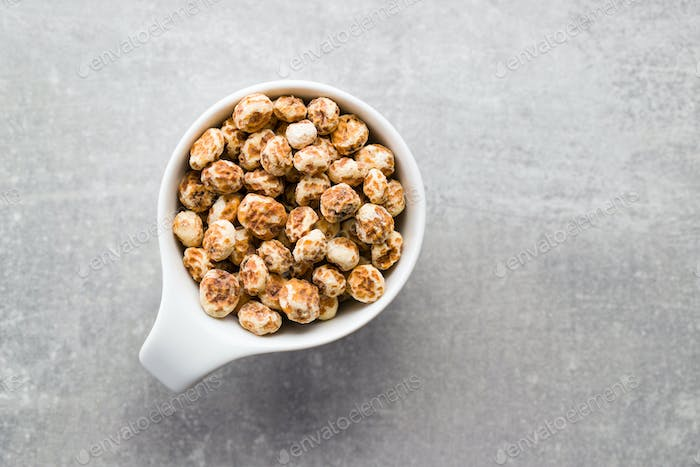 Tiger nuts. Tasty chufa nuts. Healthy superfood.