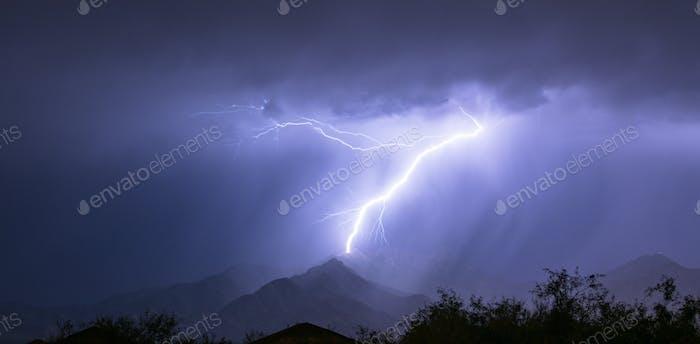 Spectacular Electrical Storm Lightning Bolt Mount Wrightson Valley Arizona