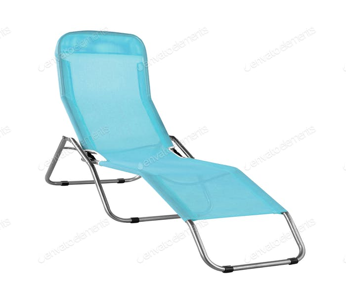 blue deckchair isolated