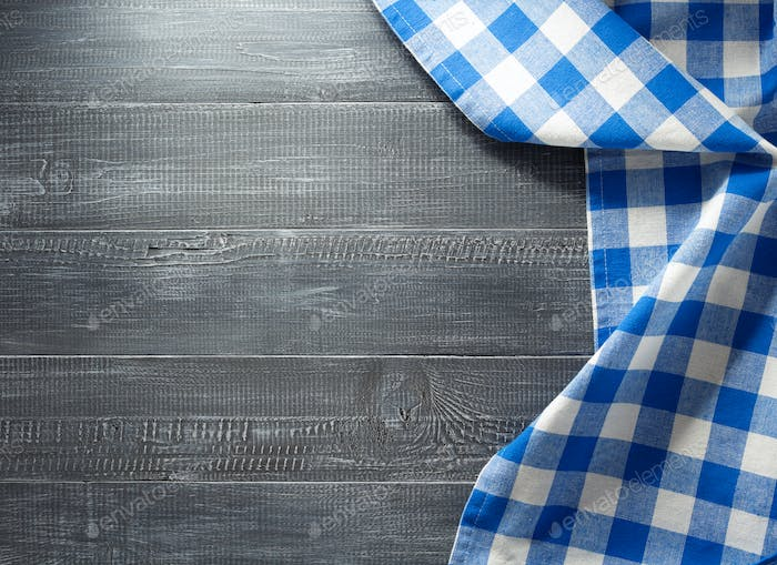 cloth napkin checked on wood
