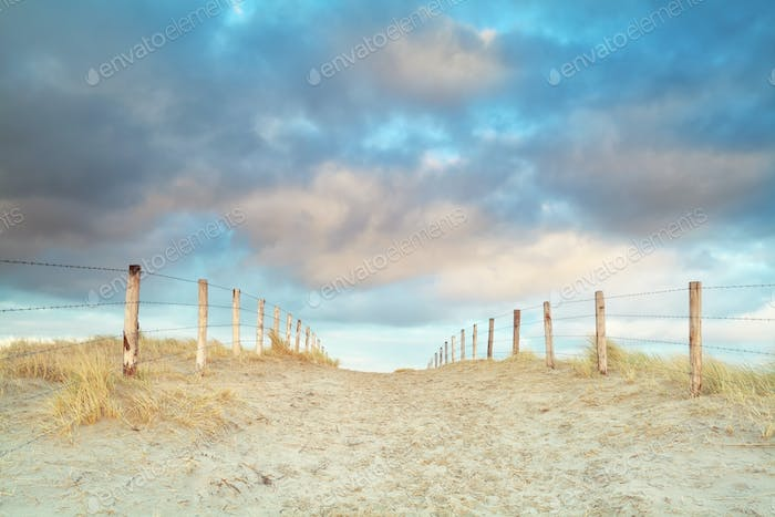 sand path and blue sky