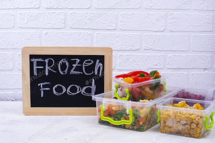 Set of various frozen products