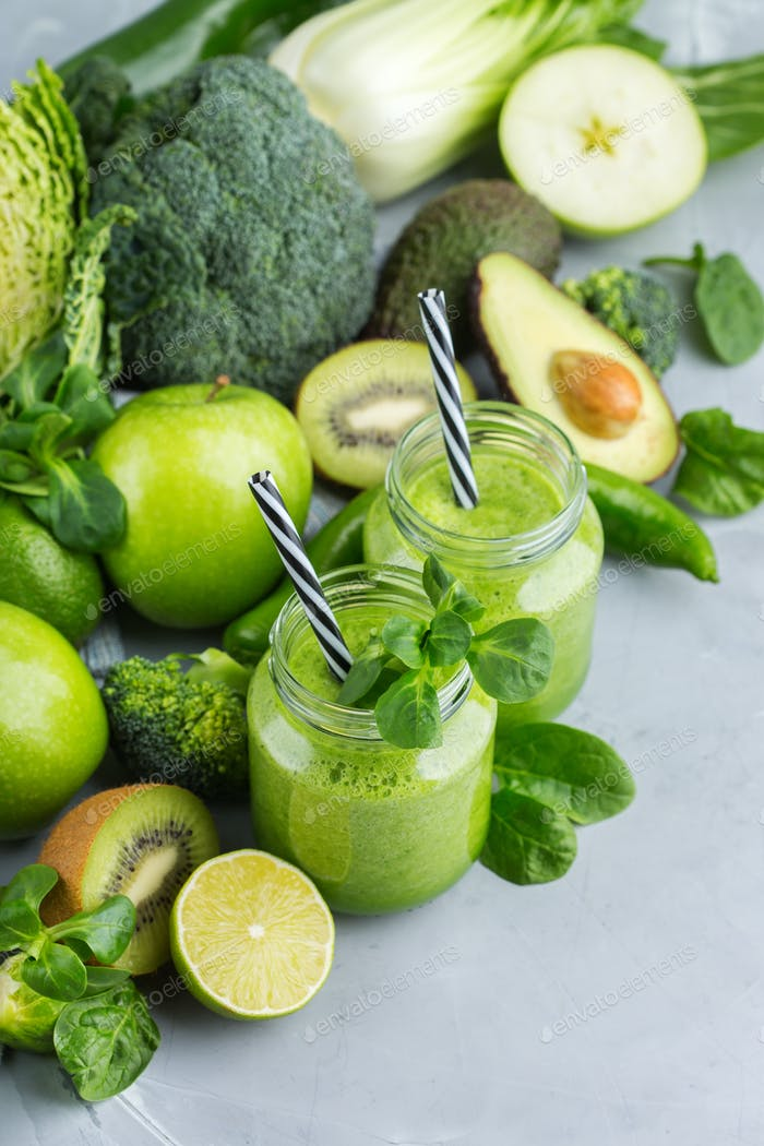 Green smoothie with vegetables for healthy, raw, vegan diet