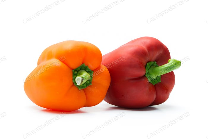 Red and orange pepper bell or paprika
