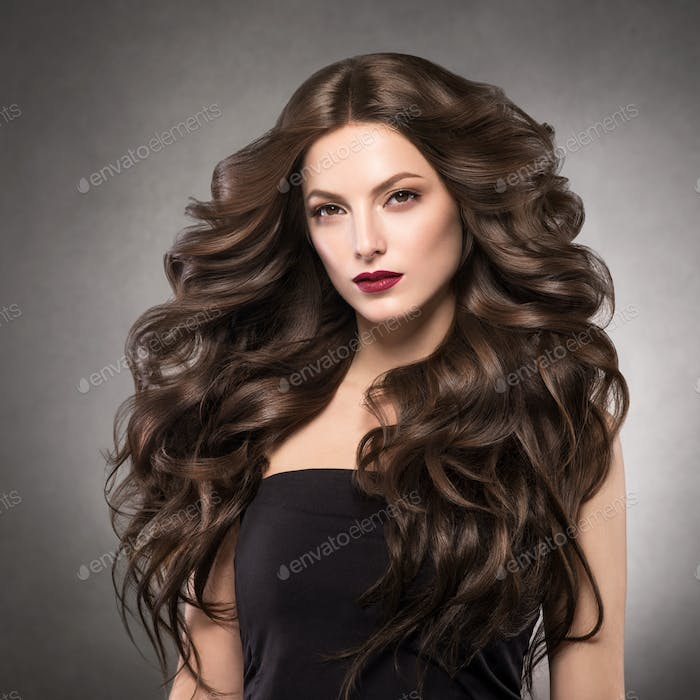 Long curly hairstyle woman beauty fashion red lips make woman