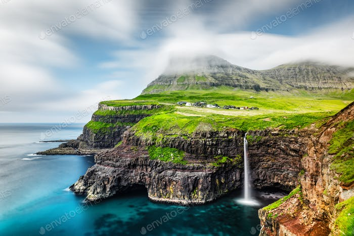 Mulafossur waterfall in Gasadalur, Vagar Island of the Faroe Islands