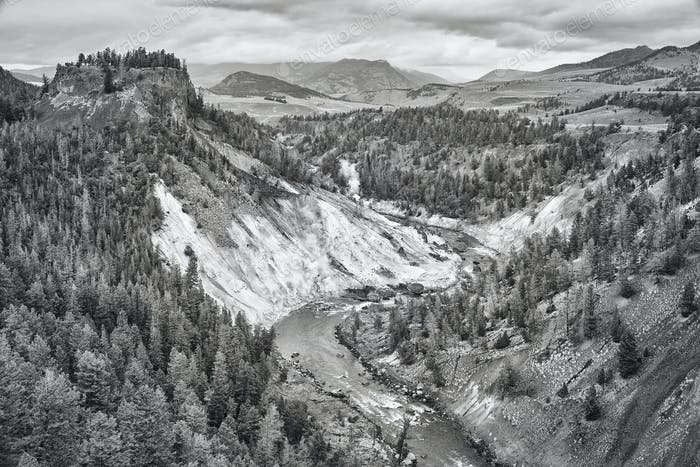 Black and white photo of Yellowstone National Park, USA.