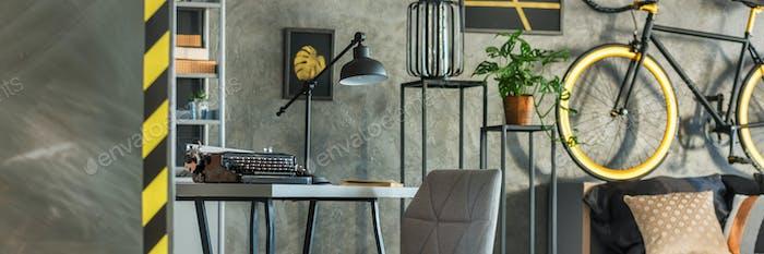 Typewriter in studio apartment