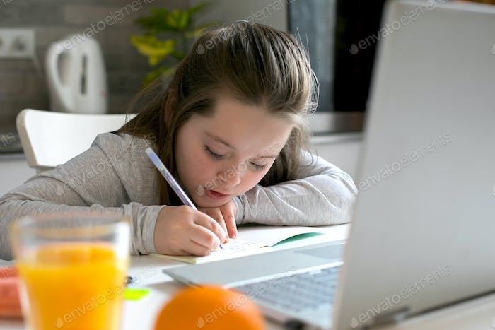 Pretty girl studying at home. Home school, online home education, quarantine, coronavirus concept