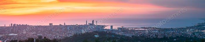 Batumi, Adjara, Georgia. Aerial View Of Urban Cityscape Skyline At Sunset. Georgian Black Sea Coast
