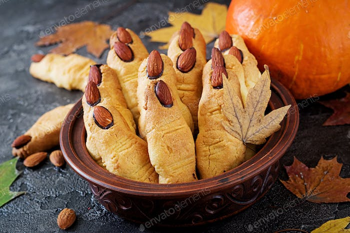 Cookies witch fingers, funny recipe for Halloween party.