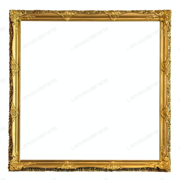 Square decorative golden picture frame