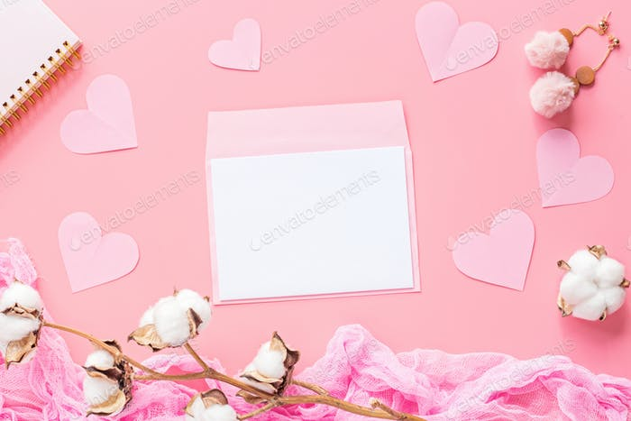Flat Lay of Pink Envelope And Blank of Paper for Valentine's Day