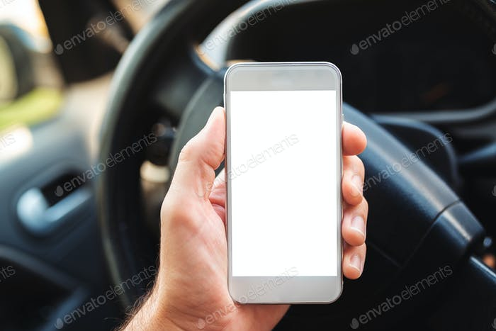 Using smartphone in car, mock up screen