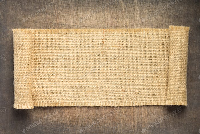 burlap hessian sacking backdrop on wood