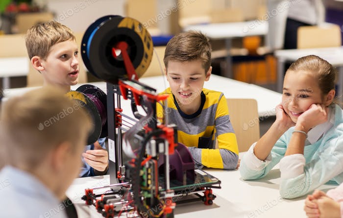 Thumbnail for happy children with 3d printer at robotics school