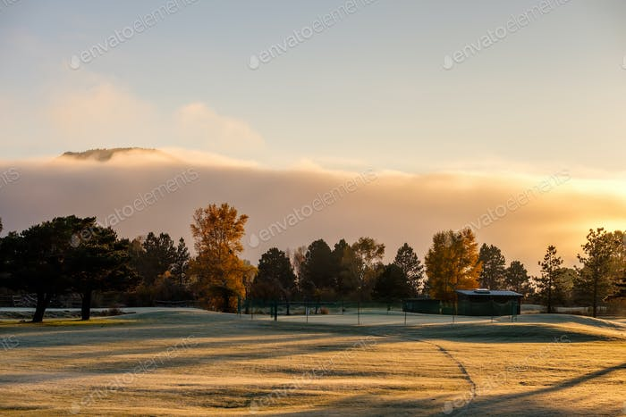Sunrise foggy landscape in Colorado, USA