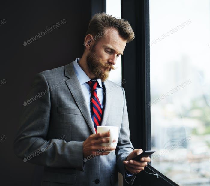 Businessman Mobile Phone Text Message Browsing Concept