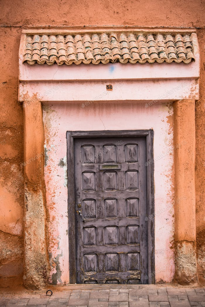 Colorful entrance doors in Medina,Morocco