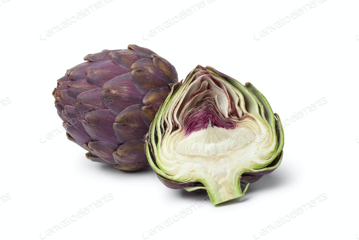 Whole and half purple artichoke
